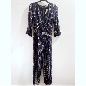ASOS Jeweled Navy Sheer Sleeve Jumpsuit NWT Size 6